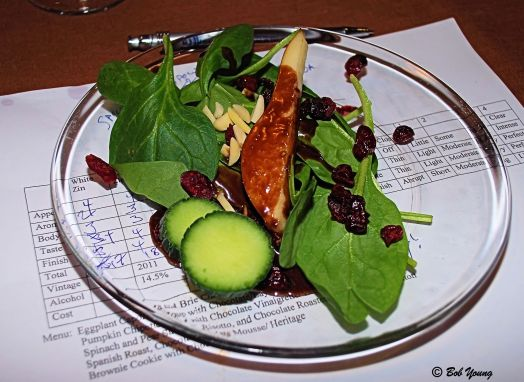 12Feb2013_1b_Buzz-Valentines_Spinach and Pear Salad_Choc Vinaigrette