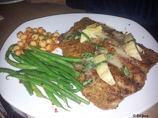Trout with Twice Steamed Green Beans and Garbanzo Beans.