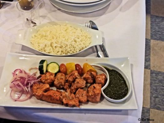 Chicken Kabob: Tender chunks of chicken breast, marinated in special herbs, spices and broiled over the grill.