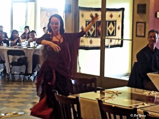 """Yes, there were dancers! And there are rules as to where to place the dollar bill. The Dancer explained to me that there is no """"set routine"""" to many of the dances, but rather the music """"tells"""" them what movements to make. The dancer interprets the music."""