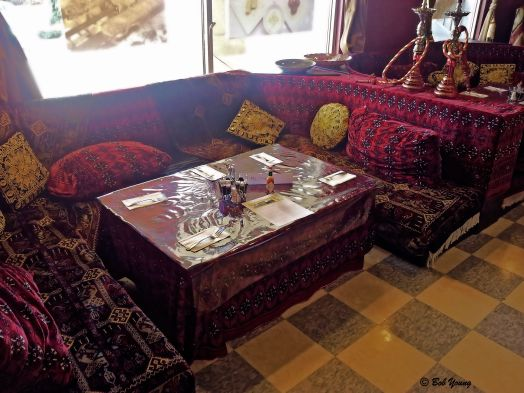 One section of the restaurant is decorated in traditional fashion.