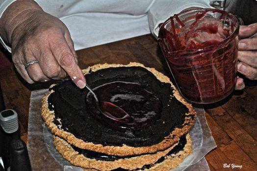 Making the Chocolate Hazelnut Torte. Yum!