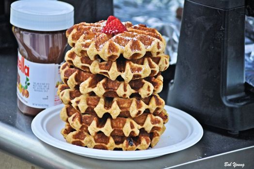 Food is available at the market. Here is a Waffle Stack.