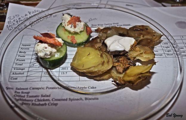Salmon Canapes Potato and Mushroom Apple Cake