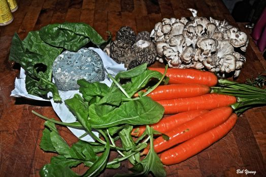 Arugula, Carrots, Rolingston Chevre Blue Goat Cheest, Fresh Morels and a new mushroom to me, Fresh Mataki.