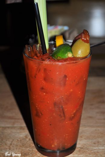 Bacon Vodka Bloody Mary Daily allowance of vegetables in a glass.