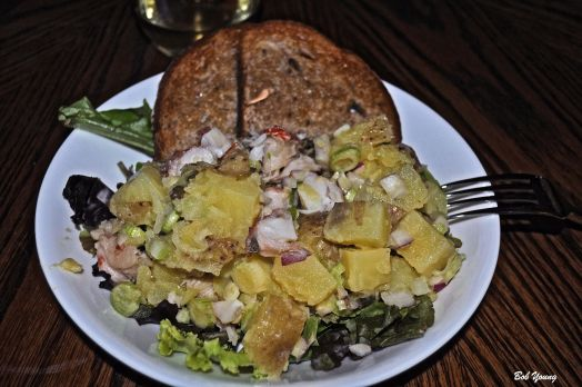 Lobster and Potato Salad with Acme Bakery (Boise) Rye Bread.