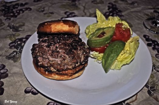 Lamb Burgers with Sumac Herbs Butter Lettuce Tomato and Avacado Served with a 2012 Rubiolo Gagliole Chianti Classico