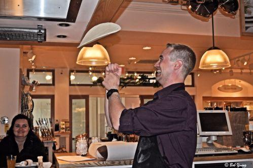 The pizza toss. Nice job, Chef!