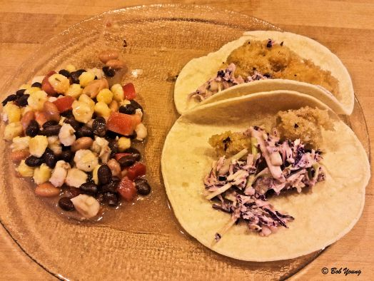 Fish Tacos with Hominy and Bean Salad