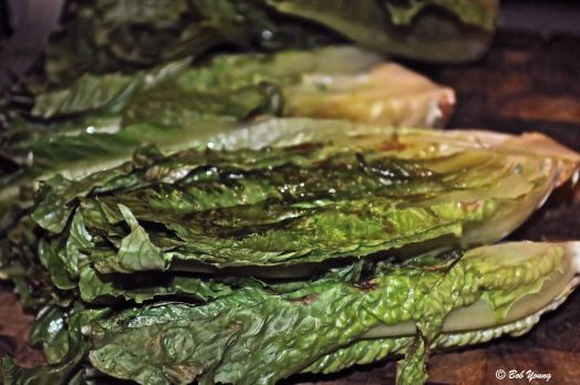 Grilled Romaine lettuce for the Caesar Salad.