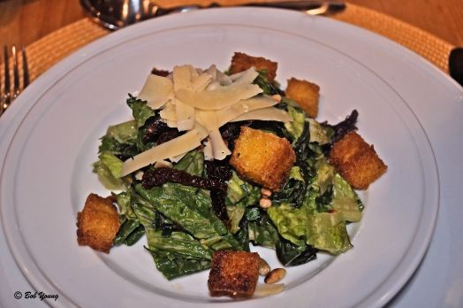 Italian Caesar Salad with Polenta Croutons Delicious, but I probably would have put more anchovies in it and a little more garlic. Just a personal preference.