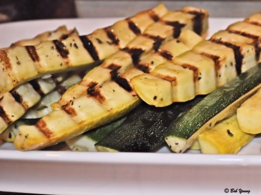 Grilled Zucchini and Summer Squash I do like like grilled vegetables, especially squash. But not done mushy. It has to have a little crunch to it. This was done perfectly, Chef Chad!