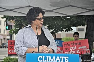 Cheri Buckner-Webb, District 19 Senator, addresses the crowd on the effects of climate change on agriculture within the state. She is on the State Agriculture Committee.