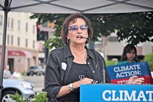 New Boise Farmer's Market President, Karen Ellis, introduces the speakers.