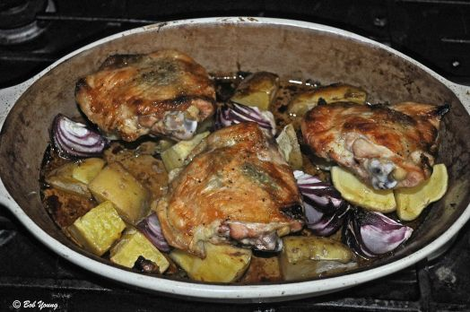 Miss Mggie's Dinner Baked Chicken Thighs with Fresh Sage and Fresh Thyme Roasted Potatoes and Onion
