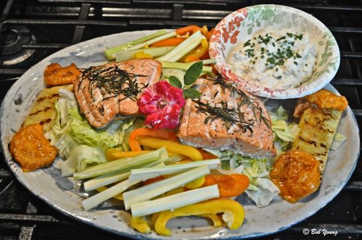 Maggie's Summer Salmon Salad - Grilled Cedar Plank Copper River Salmon, Sweet Pepper Slices, Celery Slices, Grilled Pineapple, Grilled Apricot, Crab Dip - East Coast Style and Chopped Lettuce. Next week - probably stuffed peppers one day. Hope Maggie and Trish enjoy this plate. Cheers!