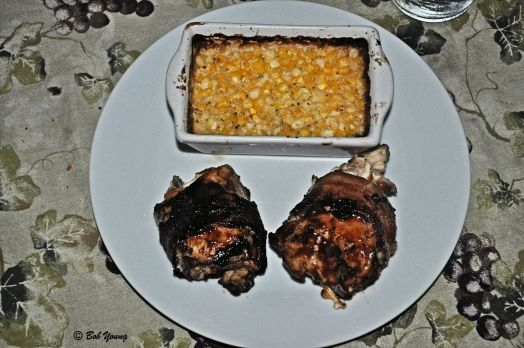Chicken Bomb plated with Baked Corn
