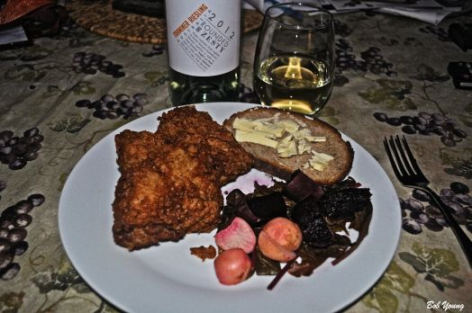 Fried Chicken Beets and Turnips with Greens Acme Bake Shop Sourdough 2012 Rosemont Estate Traminer-Riesling