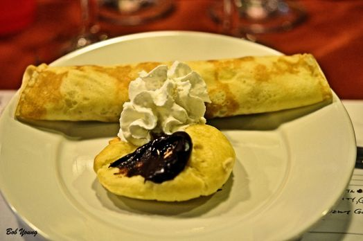 Cream Puff and Apple Crepe (Good job on the cream puffs, Cristi! Veuve du Vernay Sparkling Chardonnay 11.0% alc. a great choice to pair with this dessert. [18] $12.00