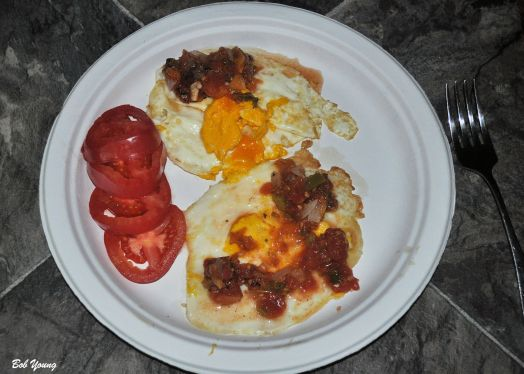 Fried Eggs with Fresh Housemade Salsa Fresh Sliced Tomatoes