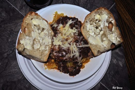Spaghetti Squash Lamb and Buffalo Meatloaf Housemade Marinara Shaved Pecorino Romano   Acme Bake Shop Ciabatta