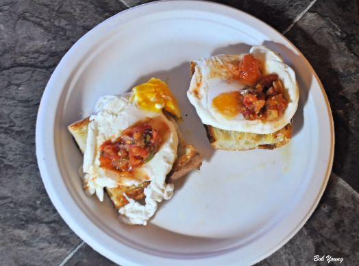 Poached Eggs on Acme Bake Shop Toasted Ciabatta Housemade Heirloom Salsa