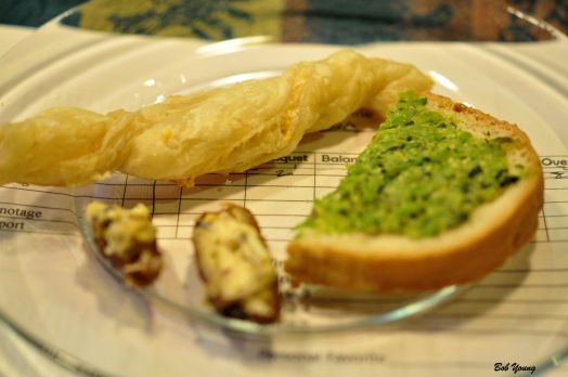 Pastry Twist Mint and Pea Pesto Cheese Dates