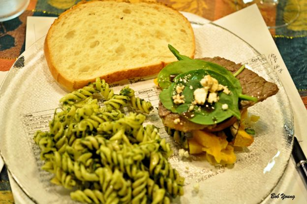 "Pumpkin Beef and Mushroom ""Salad"" Pasta and Chimichurri Sauce"
