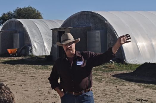 Bill Gates, Homestaed Farms whose beef were pasturing directly across the road, talks to the folks about his years of experience of raising cattle, among other livestock. Their products can be found at the New Boise Farmers Market and in Whole Foods. It is some very good beef!
