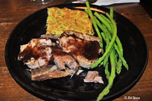 Great dinner tonight! Pork Chops with Raspberry Sauce Zucchini Cake Asparagus