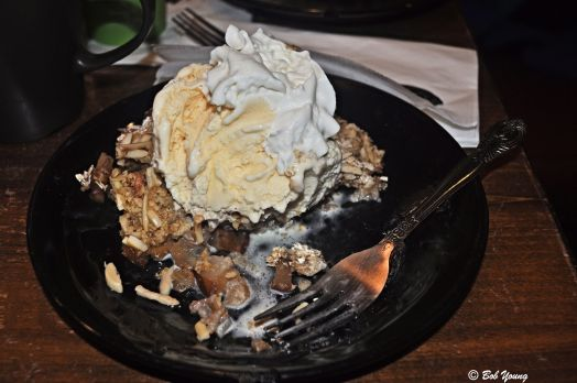 At the end of the evening ..... Dessert! Pear Cobbler Ice Cream Whipped Cream