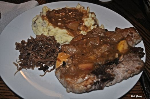 Pork Chops with Ginger Pear Sauce Housemade Sauerkraut Mashed Potatoes