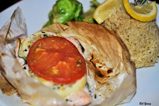 Saumon Papillotte Salmon with white wine, tomato and shallot baked in parchment paper