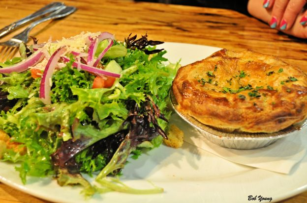 Housemade Chicken Pot Pie and Green Salad with Shallot and Lemon Vinaigrette