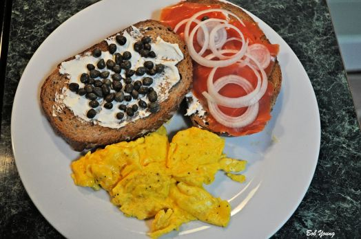 Lox Cream Cheese Capers Onion Rings Acme Bakeshop Toasted Rye Scrambled Eggs