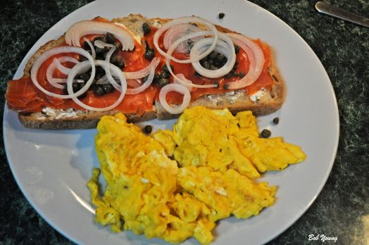 Lox Cream Cheese Capers Onion Rings Acme Bakeshop Toasted Sourdough Scrambled Eggs