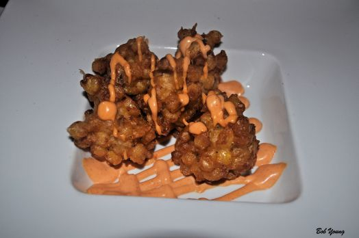 Kakitage - Corn and Red Onion Fritter with Spicy Curry Sauce