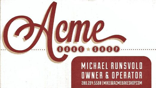 Acme Bake Shop contact information.