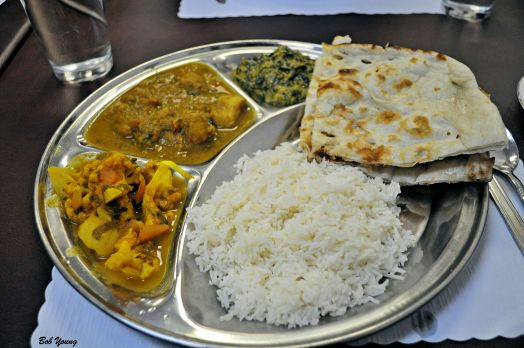 Basmati Rice Naan (Bread) Spinach and Cheese Vegetables Chicken Curry Potato and Cauliflower
