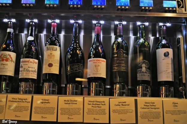 Some of the 144 available wines. A unique idea for dispensing the wine.