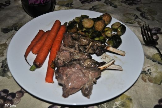 Crown Roast of Lamb Chops Fresh Grilled Carrots Balsamic Infused Brussels Sprouts