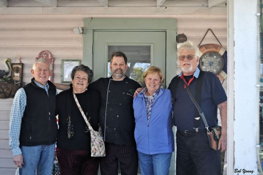 My sister Peggy and her husband Jim and Robin and I with Chef Larry of Chef Larry's Cafe in Titusville, Florida.
