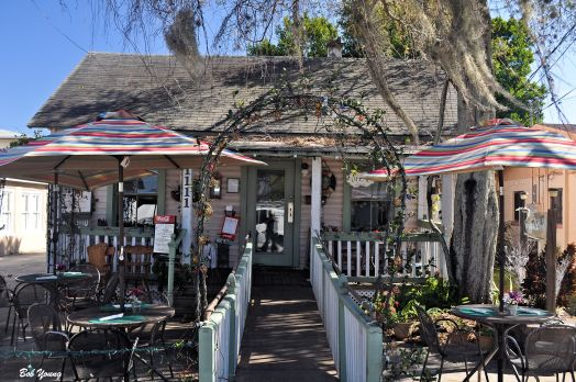 Front entrance to Chef Larry's Cafe, Titusville, Florida.