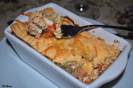 Chicken Pot Pie in a rectangular dish. Works any way you want to make them. Delicious!