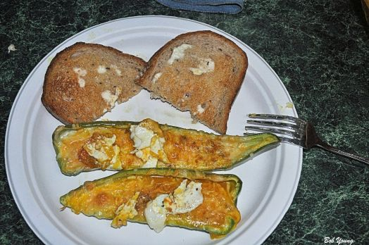 Poblano cut in half and seeds and ribs removed. Beat eggs. Spoon into chillies. Sprinkle with cheese and lightly dust with turmeric. Bake at 425 for 10 minutes or until the eggs gel. Yum!