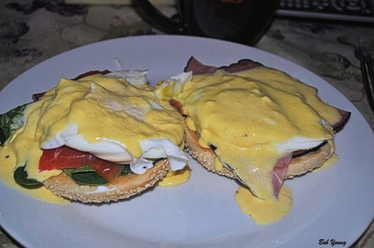 Best of Both Worlds Eggs Benedict with Spinach and Lox Eggs Benedict with Ham