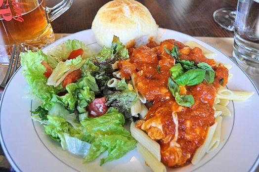 Chicken Pasta with Herbs Fresh Green Salad Fresh Homemade Rolls and a good Italian wine.