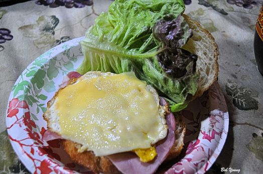 After the market, one must have breakfast. Check this one out that I made for us! Gaston Bakery Croissant Purple Sage Farms Fresh Lettuce Meadowlark Farms Fresh Egg Boars Head Ham and Swiss Cheese (Not from the market!)