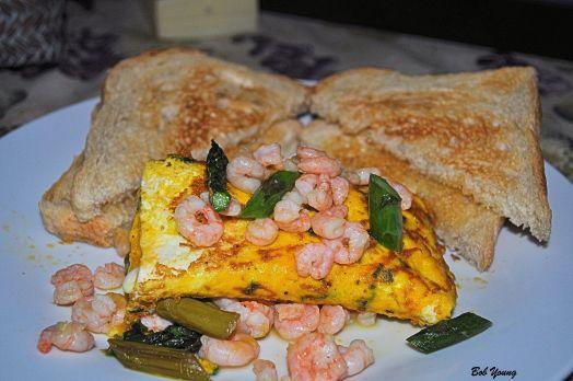 Shrimp and Fresh Asparagus Omelet Acme Bake Shop Toasted Sourdough